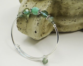 Stacking Bangle Bracelet, Stacking Bracelet, Sage Green Bracelet, Semi Precious Aqua Green, One Size, Gift for Her, Vacation Jewelry, Beach