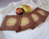 Handmade Ceramics - Lacework Coasters - Black Cherry - LaceworkCeramics