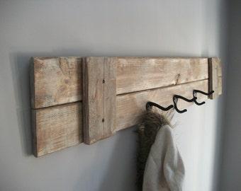 Coat Rack/ Farmhouse /rustic  grey weathered coat rack with 3 hooks