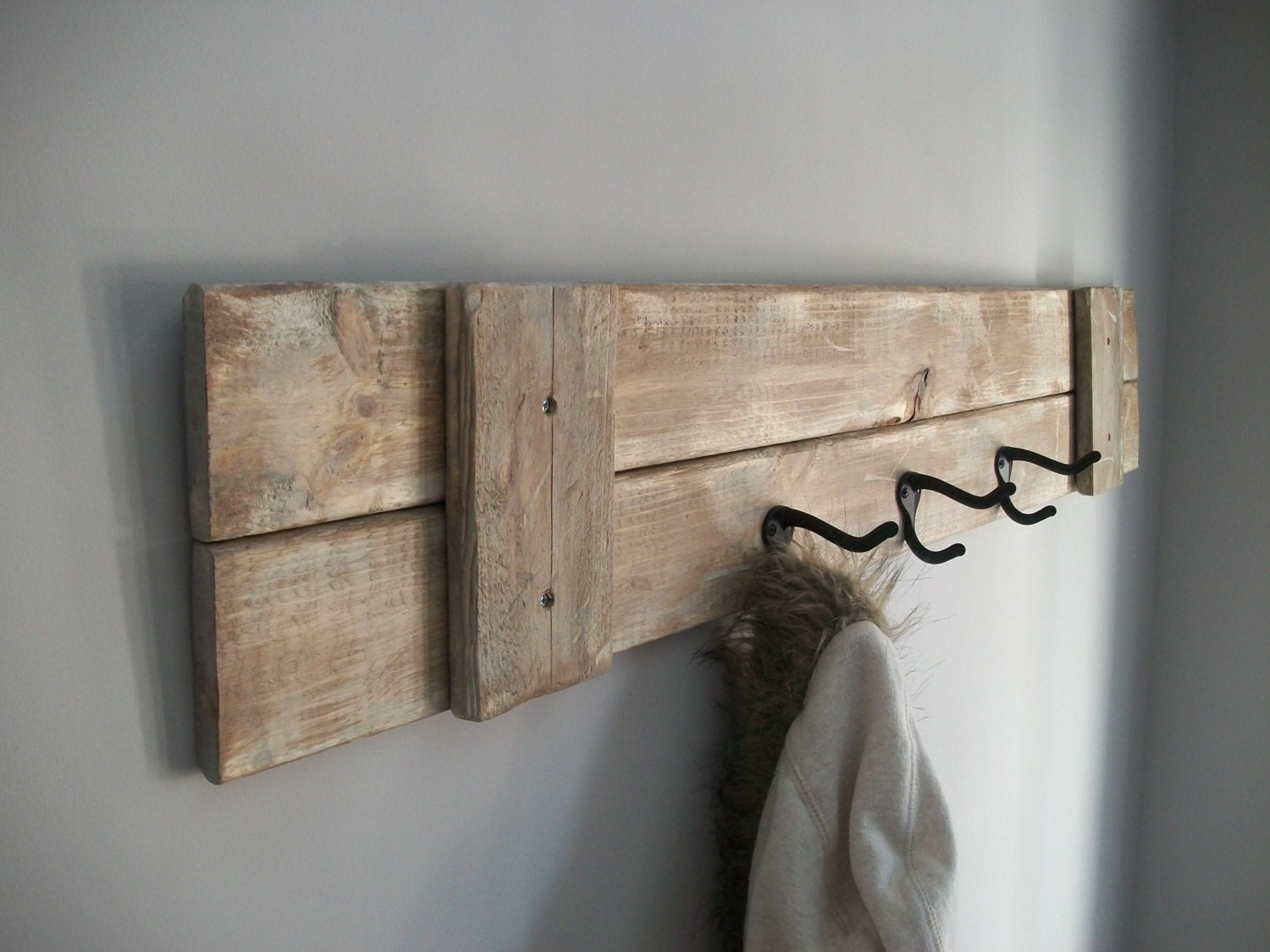 Coat Rack Farmhouse rustic Grey Weathered Rack With 3
