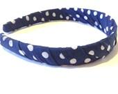 Fabric Headband - Womens Headband - Navy Blue Polka Dot - Hair Accessories - Womens Accessory
