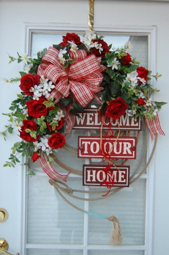 welcome christmas wreath on - photo #14