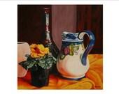 "Art Print ,celtic art,irish,wall art,kitchen diner decor, Donegal artist,Still-Life ,Yellow Flowers, Still-Life with Golden Primula """