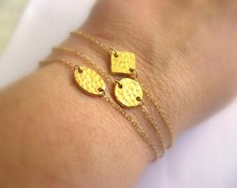 Dainty Gold Bracelet - 14K Gold Filled Bracelet with Hammertone Diamond Link - charm bracelet - layering bracelet - friendship bracelet