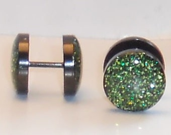 Alligator Green Glitter Fake Plugs