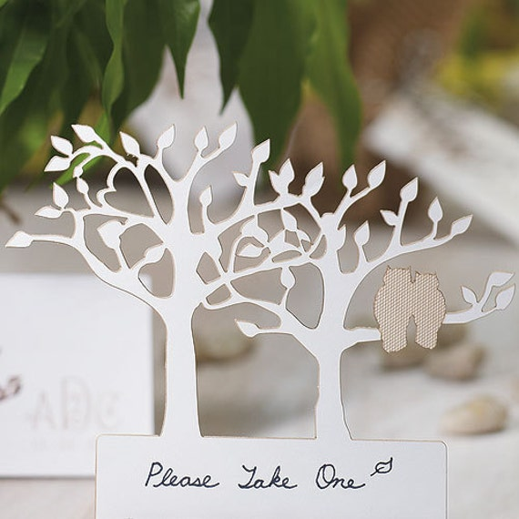 Laser Cut Tree with Owl Wedding Table Name Cards PACKS OF