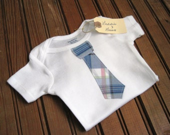 Short Sleeve Blue Plaid Necktie Onesie, Bow Tie Onesie, Bowtie Onesie, Baby Tie Onesie, Tie Onesie, Baby Boy Gift, Baby Shower Boy Gift