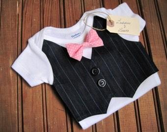 First Birthday Pinstripe Vest & Bow Tie Onesie, Vest Onesie, Bow Tie Onesie, Bowtie Onesie, Baby Birthday Onesie, First Birthday Onesie