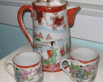 Japanese Satsuma Kutani Porcelain Geisha Tea Pot and Two Tea Cups Hand Painted