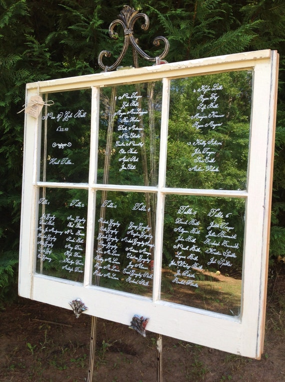 Items similar to vintage wedding seating chart windows for Decoration fenetre post it