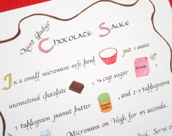 Kitchen Art Recipe -- Chocolate Sauce -- Calligraphy Art Print, Kitchen Decor