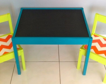 BLack Matte Chalkboard Play Table and 2 Chairs