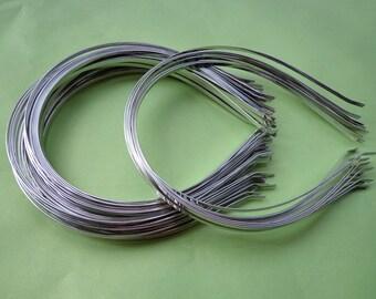 100pcs Metal Headbands 3mm Silver color with bent end Diy creative headbands