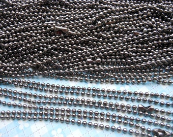 50pcs 27inch, 2.0 mm gunmetal Ball Chain Necklaces