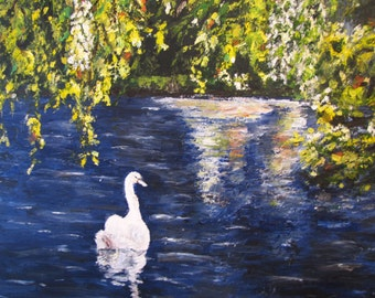 Swan Song  - Oil Painting 18 x 18