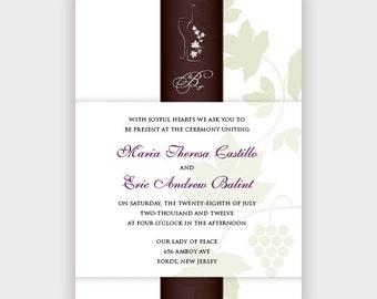 Wine Ribbon Wedding Invitation