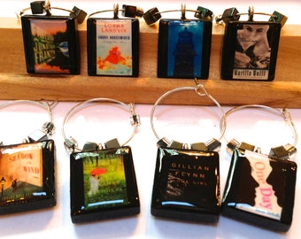 Choose Your Book Covers Custom Scrabble Tile Wine Glass Charms