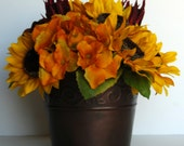 Yellow Sunflowers in Copper Vase Container-Rustic Silk Floral Arrangement