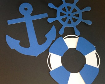 "30 4"" Nautical DieCuts/Cutouts Anchor Helm Live Preserver for scrapbook, decorations, party favors, cupcakes"