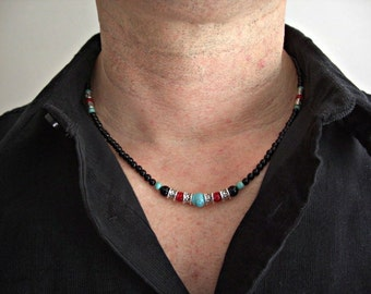 Black Onyx, Howlite Turquoise, Red Jasper, Silver Accents Men's Necklace, Men's Jewelry