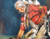 18x24 Native American Elder Granpa Whitecloud- Large Print Reproduction of a Pastel Original of a Southern Style Dancer