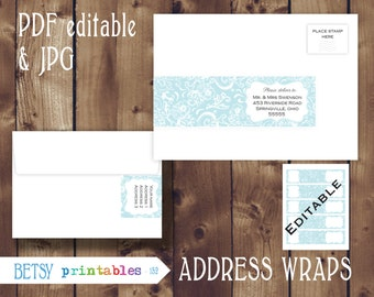 Editable Address wraps, editable return address, orintable PDF and JPG envelope wrap labels - Instant Download - 152