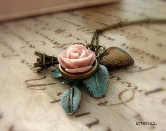 Paris Necklace Charms necklace Antique style Flower necklace Pink Rose Blue leaf vintage necklace Gift for her