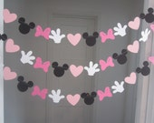 10 ft minnie mouse inspired paper garland banner decorations birthday clubhouse black white 2 shades of pink