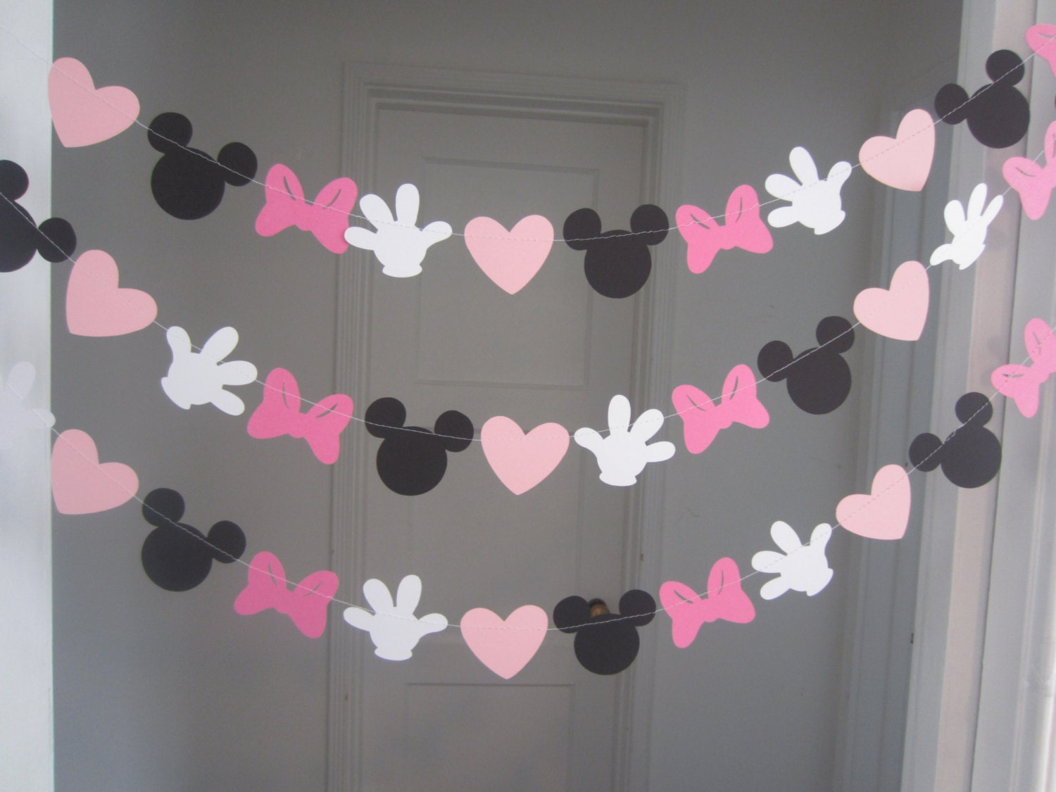 Pink And Black Minnie Mouse Decorations Minnie Mouse Inspired Paper Garland Banner Decorations