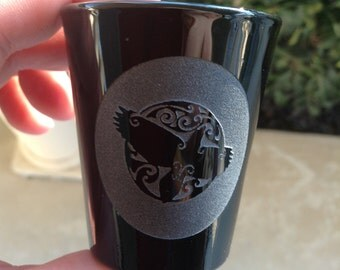 black shot glass with celtic raven engraving, solid black glass, 1 1/2 oz