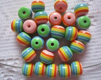 25  Pink Orange Yellow Green & Blue Striped Round Resin Acrylic Beads  8mm