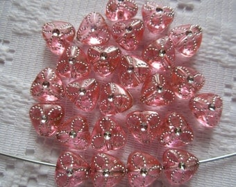 25  Bubble Gum Pink & Silver Flower Etched Triangle Acrylic Beads  9mm