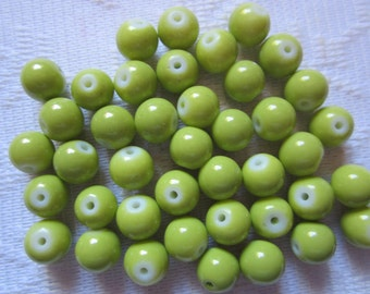 24 Kiwi Lime Green Opaque Round Glass Beads  6mm