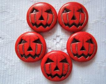 5  Red Halloween Pumpkin Jack O Lantern Howlite Beads  25mm
