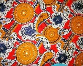 Awesome Vintage ABSTRACT MOD PAISLEY Print Cotton Blend Fabric 1970's