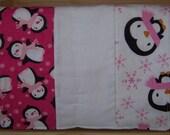 Flannel Penguin Burp Cloth