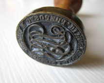 Vintage stamp with fine letters, wood and brass, Antique furniture, studio and design, 1930's.