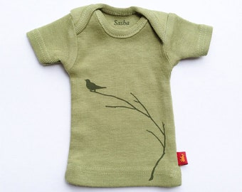 Sasha Doll & MSD sized T-Shirt - Sage Bird on a Branch