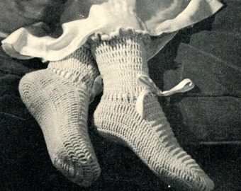 Vintage 1940's Crochet Socks Pattern, Baby Wool