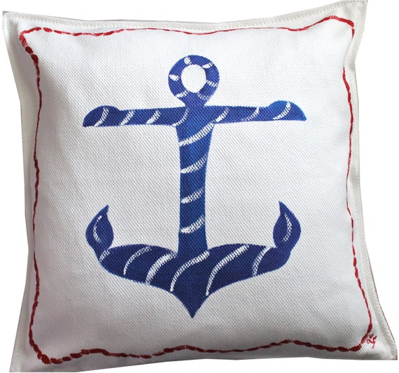 Items similar to hand painted nautical anchor pillow on etsy for Hand painted pillows