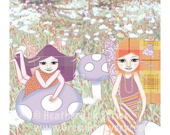 Mushroom Fairies - Limited Edition Fine Art Print - Digital Painting - Fantasy, Whimsical, Girl, Orange, Purple, 8x10