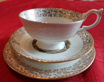 Vintage  Crown Stafford English Teacup Trio - Lavender Cries of London English Bone China Tea Set London Collectible Tea Party China