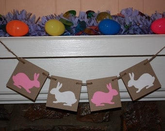 WHITE and PINK BUNNY Banner for You Easter Party