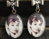 Audrey Hepburn picture pendant with hand painted silver bow and Swarovski crystal