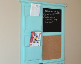 Two Mail Organizer, Jamaican Sea Chalkboard & Cork board with letter holder  Key / Coat / Hat rack - RusTic - Home Decor