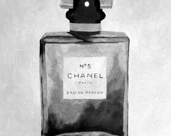 CHANEL No.5 Perfume Art Print, Black and White Edition, Fashion Gifts, Wall Art, Home Decor