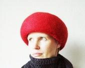 """Womens Felt Hat Soviet Estonian Vintage stylish Lady elegant red round hat Size 21 5/8"""" (55 cm)"""