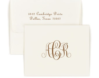 Set of 100 Monogram Folded Note Cards Delavan