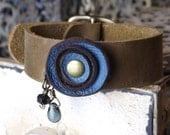 Blue and Brown Leather Flower Bracelet with Light Brown Cowhide Band and Brass Buckle
