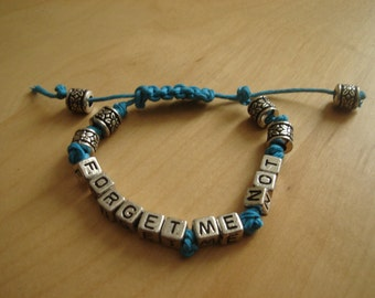 Macrame Forget Me Not Bracelet, with adjustible clasp